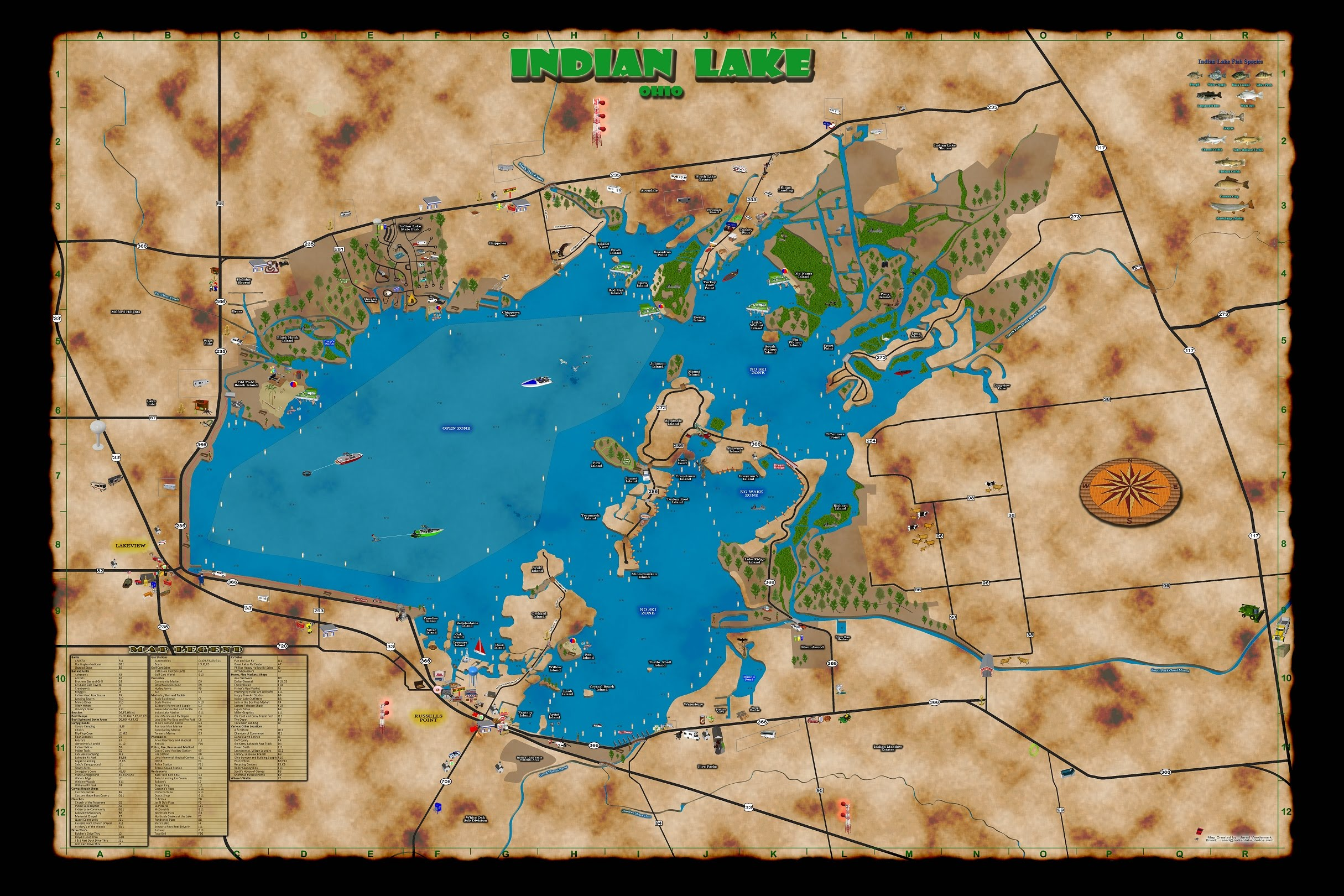 map of indian lake ohio Lake Banner Maps For Sale Indianlakephotos Com map of indian lake ohio